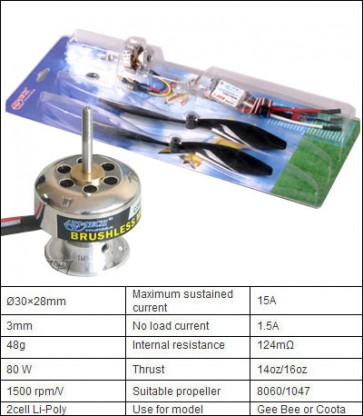 301303A Brushless combo power system 80w