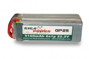 GP51006S 22.2V 5100mAh 6Cell 25C - 50C